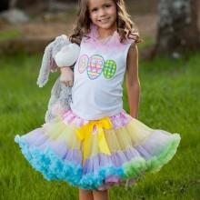 Mädchen Ostern Kleider Regenbogen-farbigen Rock, weißes top