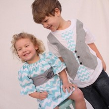 Oster-outfits für Jungen Mädchen Geschwister blauen chevron pattern