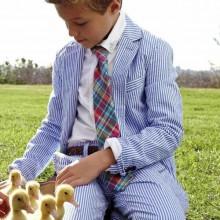 Oster-outfits für Jungen-seersucker-Anzug-Krawatte