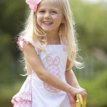 Oster-outfits für Mädchen, weiß-rosa Kleid bunnys
