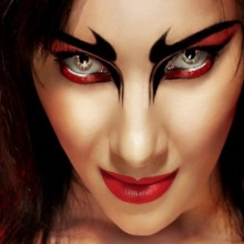 colored contact lenses halloween make up ideas red black