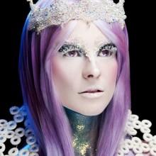 halloween-Kontaktlinsen-make-up-und Kostüm-Ideen, die Schneekönigin