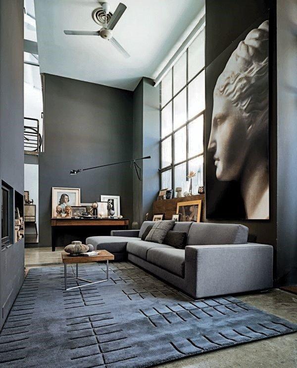 modern-home-Interieur-Grau Wohnzimmer-Grau-sofa-Bereich ryg-Wand ...