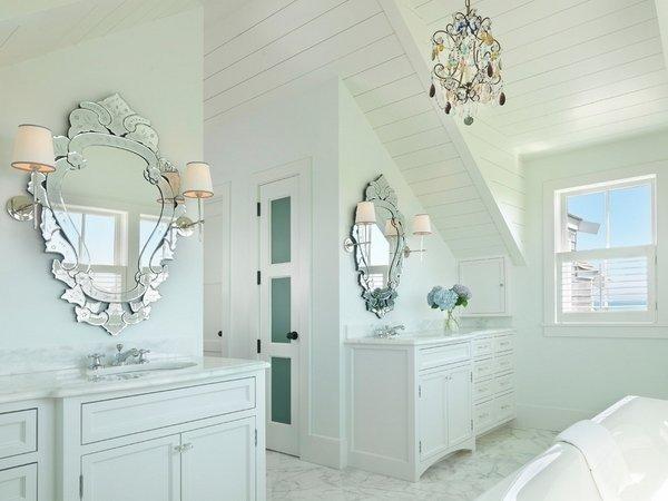modernes weißes badezimmer weiße unterschränke wandspiegel, Hause ideen