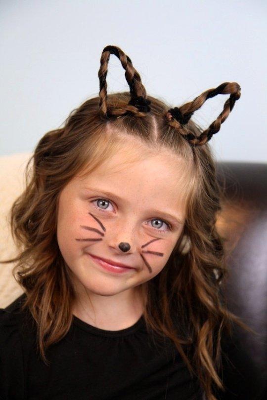 Nicht Gruselig Halloween Kostuem Kind Maedchen Katze Haar Friseur