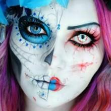rosa-blau-halloween-makeup-ideen-frauen-1
