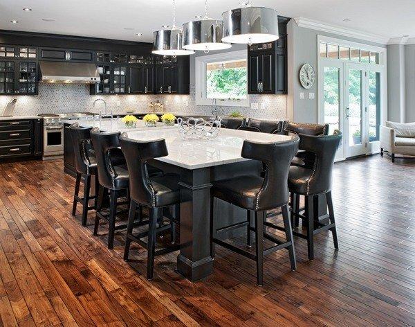 schwarz-Küche-Schränke-weiß-Insel-Arbeitsplatte-Küche Insel mit ...
