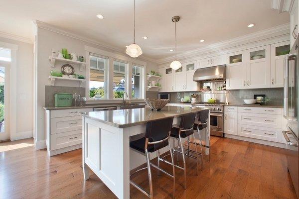 weiß-Küche-Schränke-Quarz-Arbeitsplatte Farbe Grau, Holz ...