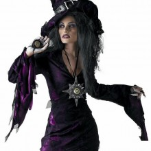 witch halloween costume black purple pointed hat